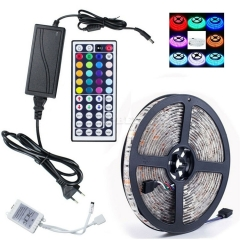 Kit Led Strip SMD RGB High Quality 5050 5 Meter 12V IP65 Waterproof Outdoor Indoor DC Controller Remote