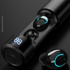 Q19 Tube Wireless Earphone Bluetooth V5.0 TWS Headphone 2600mAh Charging Bin LED Display Earbuds Headset Microphone