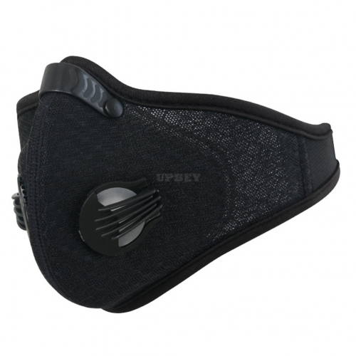 Anti-Pollution Cycling Masks Dustproof Activated Carbon Filtration Mask Sports Mesh Half Face Cover Black_Free size