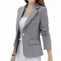 Women Fashion Slim Long Sleeve Solid Color Jacket gray
