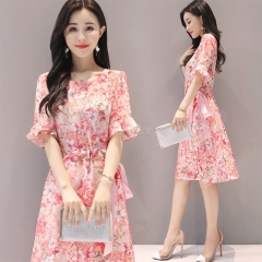 Women Summer Tight Waist Flare Sleeve Floral Printing Lacing Dress Pink