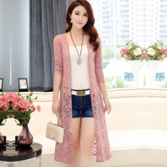 Women Simple Leisure Solid Color Cardigan Lace Mesh Sunscreen Beach Shirt Tops  Pink
