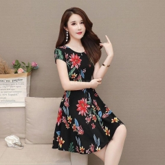Women Floral Printed Casual Short Sleeves ALine Waisted Dress red flower