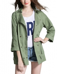 Leadingstar Women's Three Quarter Sleeve Lapel Double breasted Jacket Coat Army Green