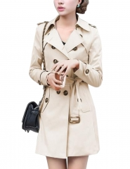 Woman Lady's Windbreaker Coat Stylish Double-breasted Belt Slim Jacket Large Size Khaki