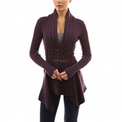 Women V-Neck Cardigan Long Sleeve Knitted Sweater Jacket Top for Ladies Purple red