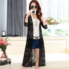 Women Simple Leisure Solid Color Cardigan Lace Mesh Sunscreen Beach Shirt Tops  black
