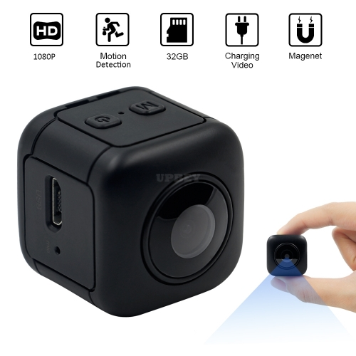 Mini 1080P Portable Small Safety Camera with Night Vision/Sport Detection for Home Car Drone Office Outdoor  black