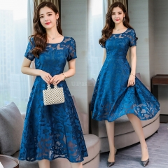 Women Summer Casual Loose Short Sleeve Tight Waist Lace Splicing Dress Peacock blue