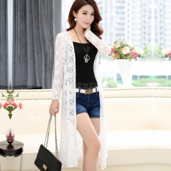 Women Simple Leisure Solid Color Cardigan Lace Mesh Sunscreen Beach Shirt Tops  white