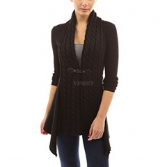 Women V-Neck Cardigan Long Sleeve Knitted Sweater Jacket Top for Ladies black