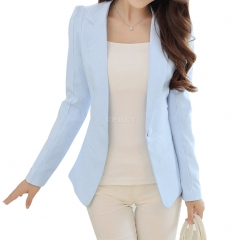 Women Casual All-match Solid Color Slim Long Sleeve Jacket sky blue