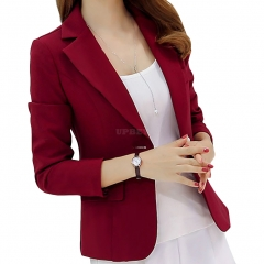 Women Fashion Slim Long Sleeve Solid Color Jacket Red wine