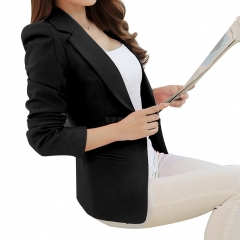 Women Casual All-match Solid Color Slim Long Sleeve Jacket black