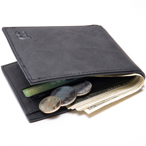 Men Wallets with Coin Bag Zipper Small Money Purses Money Clip Wallet Gift black