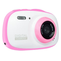 Kids Waterproof Digital Camera Mini Child Camcorder for Kids Support MP3, MP4 with 2.0 Inch HD IPS Screen Pink