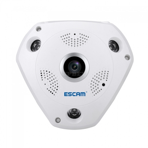 ESCAM Shark QP180 IP Camera - HD 960P, WiFi, 360 Degree Panoramic, H.264 Compression, Two Way Talk, IR, Motion Detection