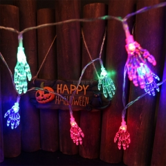 1.2M 10 LEDs Ghost Hand Shape String Lamp Halloween Skeleton Night Light Terror String Light for Halloween Party Home Supplies Colors light