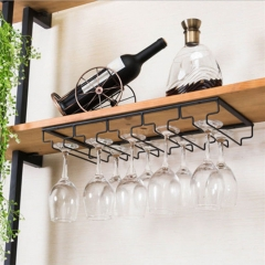 Iron Wall Mount Wine Glass Hanging Holder Goblet Stemware Storage Organizer Rack Five-row