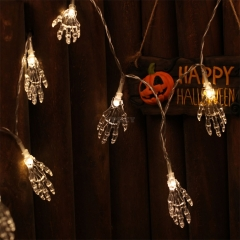 1.2M 10 LEDs Ghost Hand Shape String Lamp Halloween Skeleton Night Light Terror String Light for Halloween Party Home Supplies Warm White