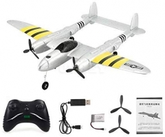 FX-816 World War II Air Force P38 RC Airplane 2.4GHz 2CH RC Aircraft Fixed Wing Outdoor Flight Drone for Kid Toys Silver Silver