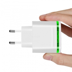 4 Ports USB Charger for Phone EU Plug 5V 4A Mobile Phone Universal Fast Charge with LED Light for iPhone iPad white