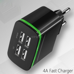 4 USB Wall Charger EU Plug Fast Charging Travel Charger Adapter Type-C Cable Phone Chargers black
