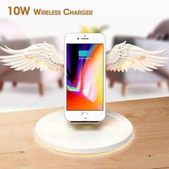 Angel Wings Qi Wireless Charge Dock 10W 3.0 Fast Charger Type C for iPhone X XR 8 Plus Smasung S9 S10 Plus for Huawei white