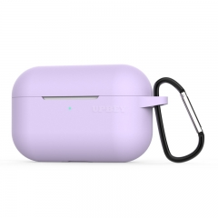 Silicone Case for AirPods Pro Travel Earphone Storage Bag Smooth Surface Dustproof Overall Protection Headset Cover purple