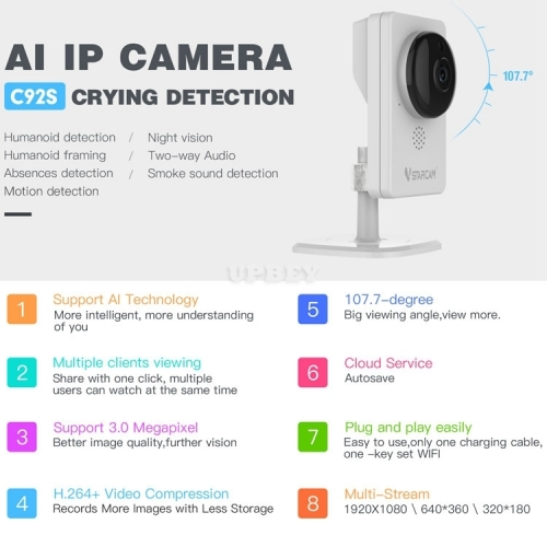 VStarcam C92S IP Wireless Camera Motion Smoke Humanoid Crying Baby Monitor Detection Led Wifi Indoor Record TF Cloud Night Vision Security CCTV