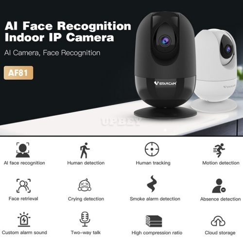 VStarcam AF81 IP Wireless Camera AI Face Recognition Motion Smoke Alarm Humanoid Crying Baby Detection Wifi Indoor Cloud Night Vision Security CCTV